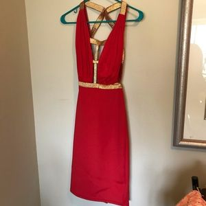 Red and Gold Party Dress! Size small
